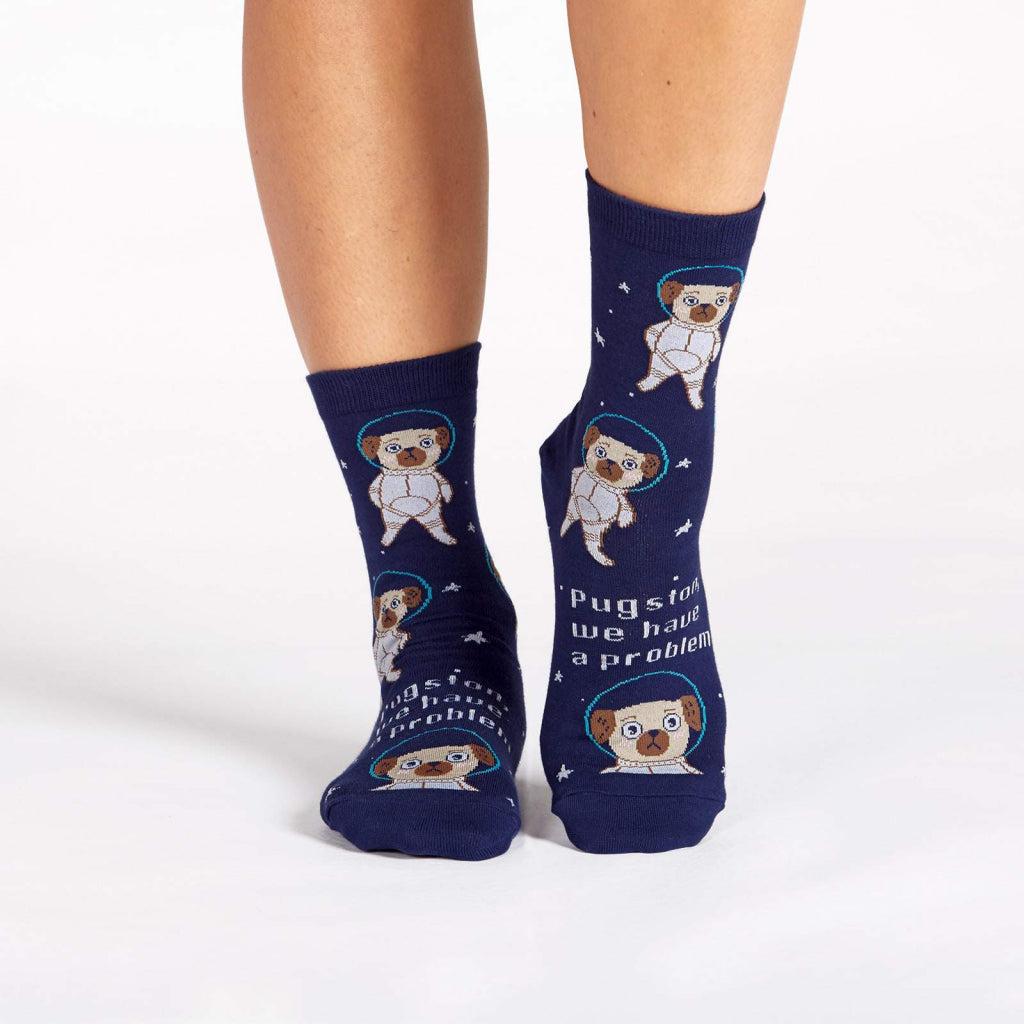 Pugston We Have A Problem Women's Crew Socks Front