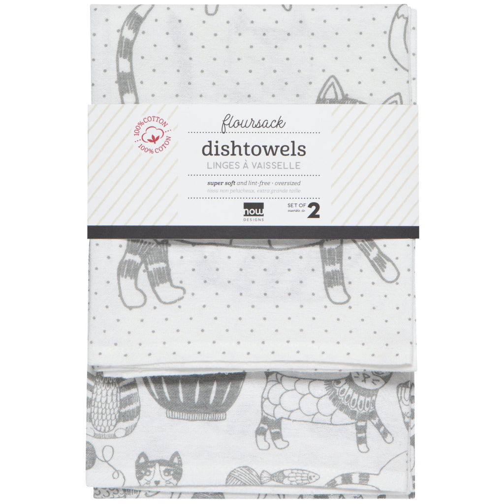 Purr Party London Grey Floursack Tea Towels Set Of 2 Packaging