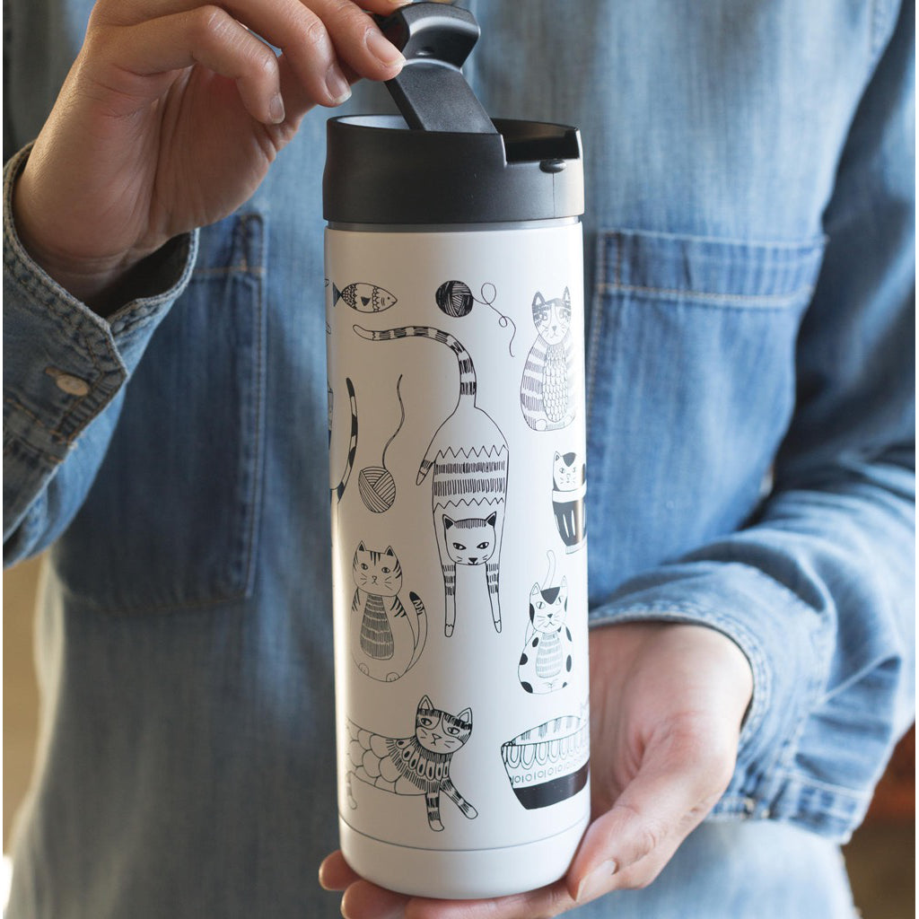 Lifestyle of Purr Party Travel Mug.