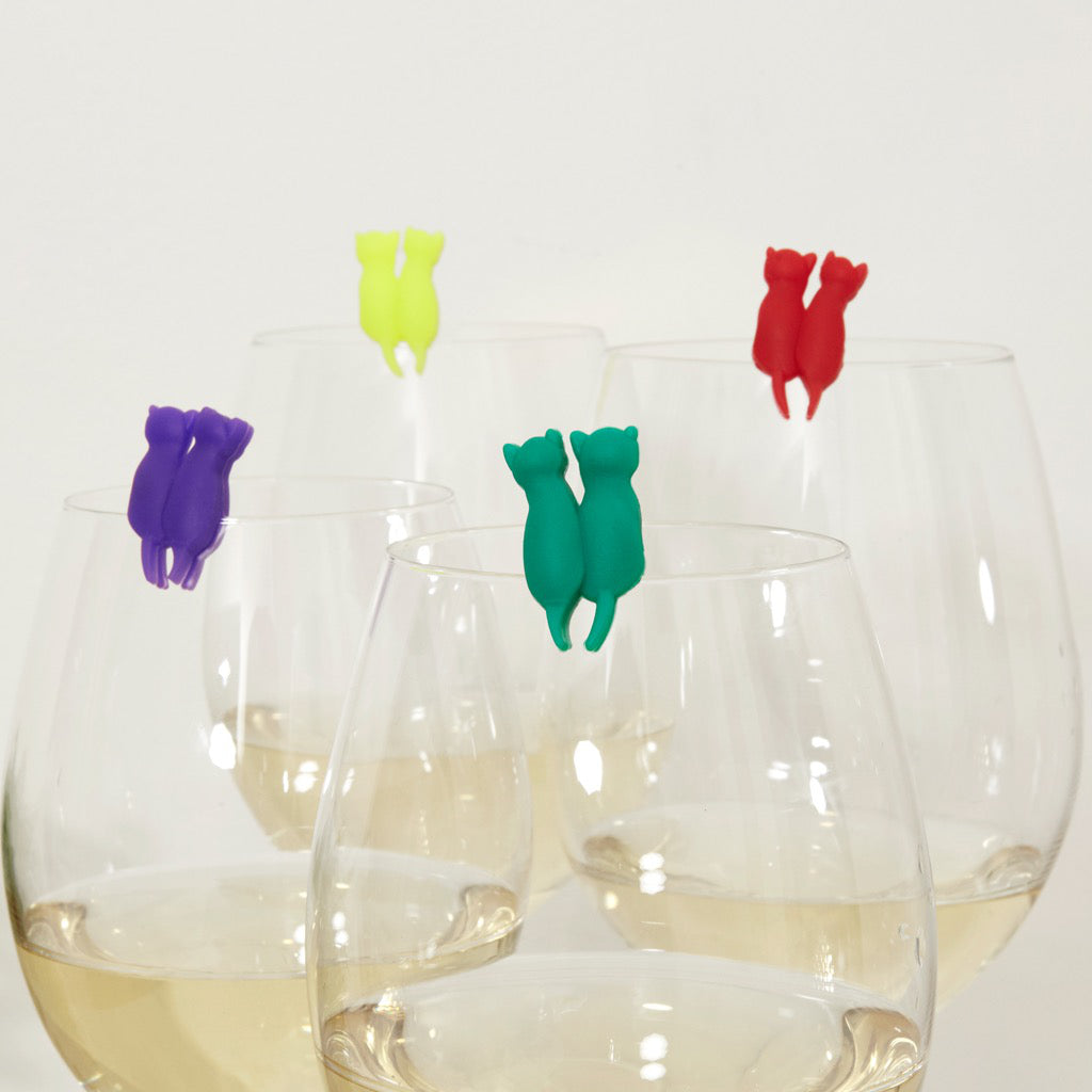 Rainbow Cat Drink Markers Set of 8 Wine glass