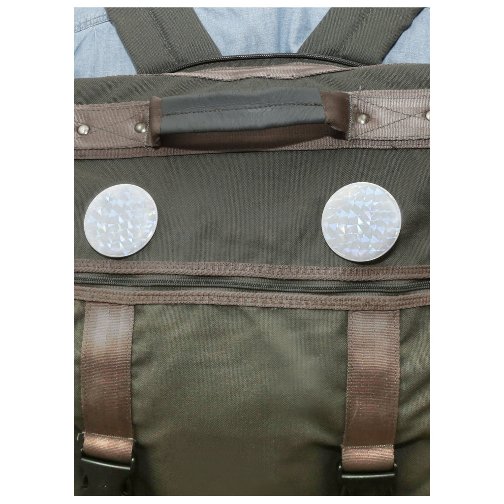 Reflective Buttons on bag.