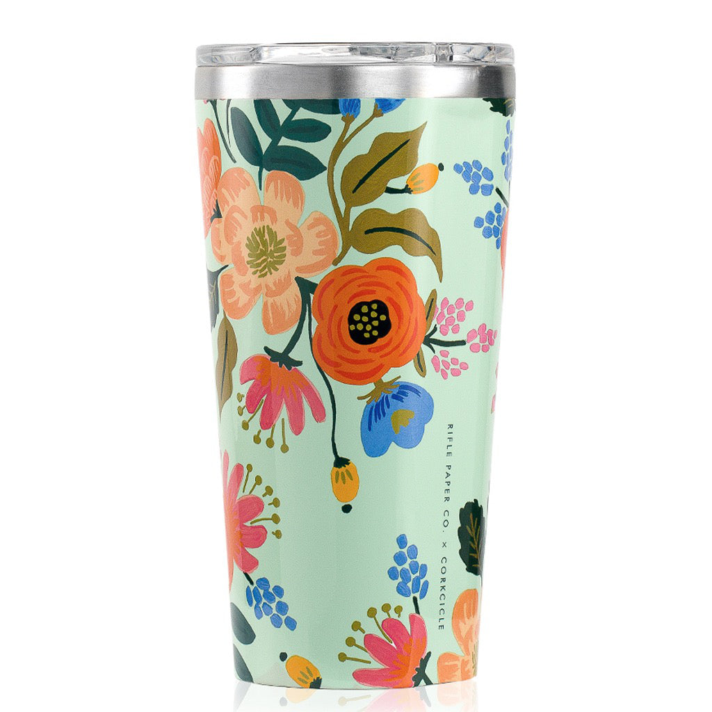 Rifle Paper Lively Floral Gloss Mint Tumbler 16oz