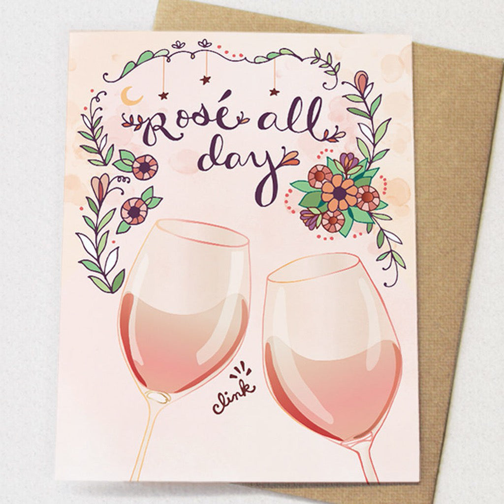Rose All Day Wine Birthday Card