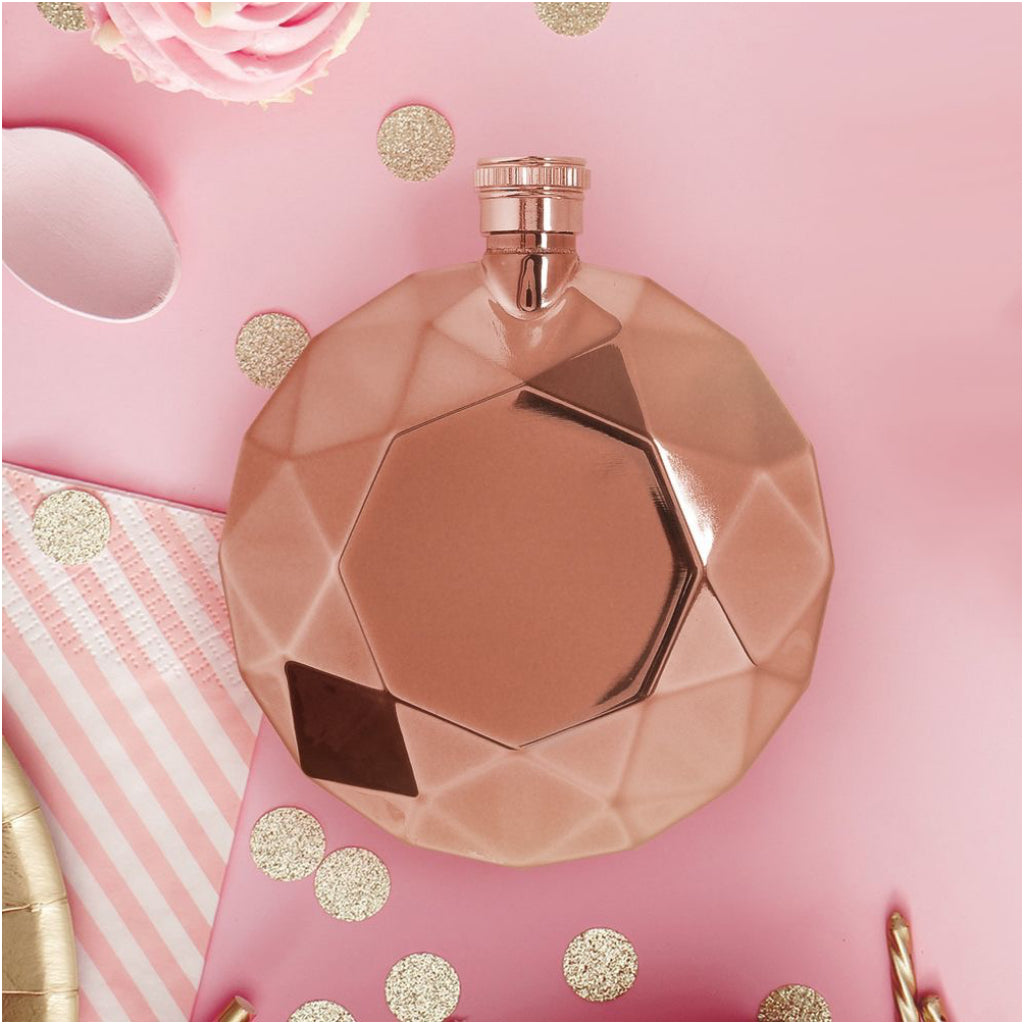 Rose Gold Round Gem Flask In Use
