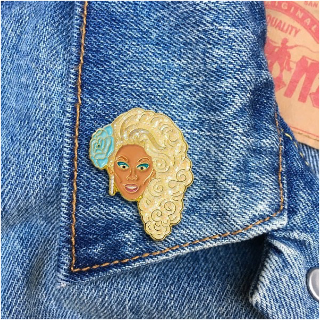 RuPaul With Blue Flower Enamel Pin Lifestyle