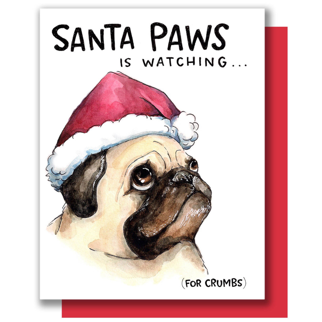 Santa Paws Is Watching Card