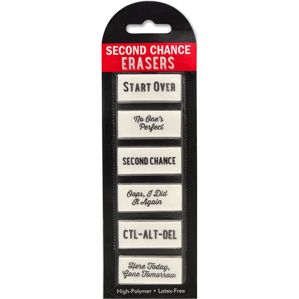 Packaging of Second Chance Erasers.