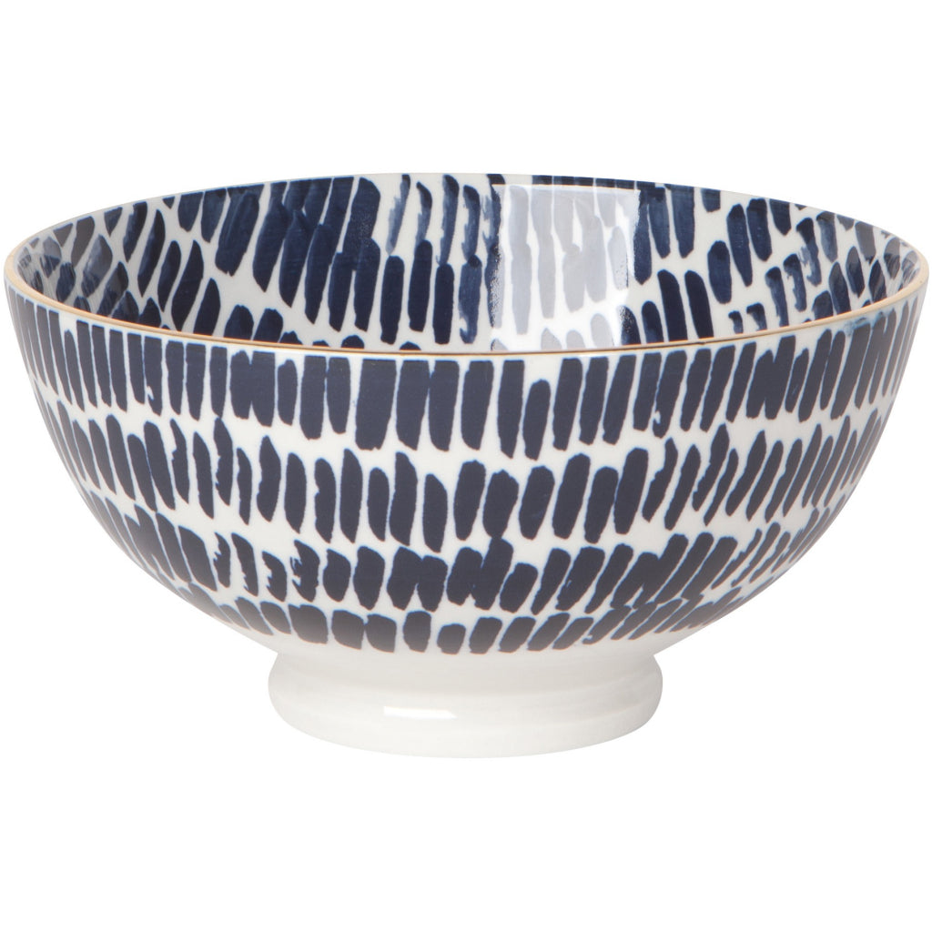 Shibori Dash Stamped Cereal Bowl 6 inch