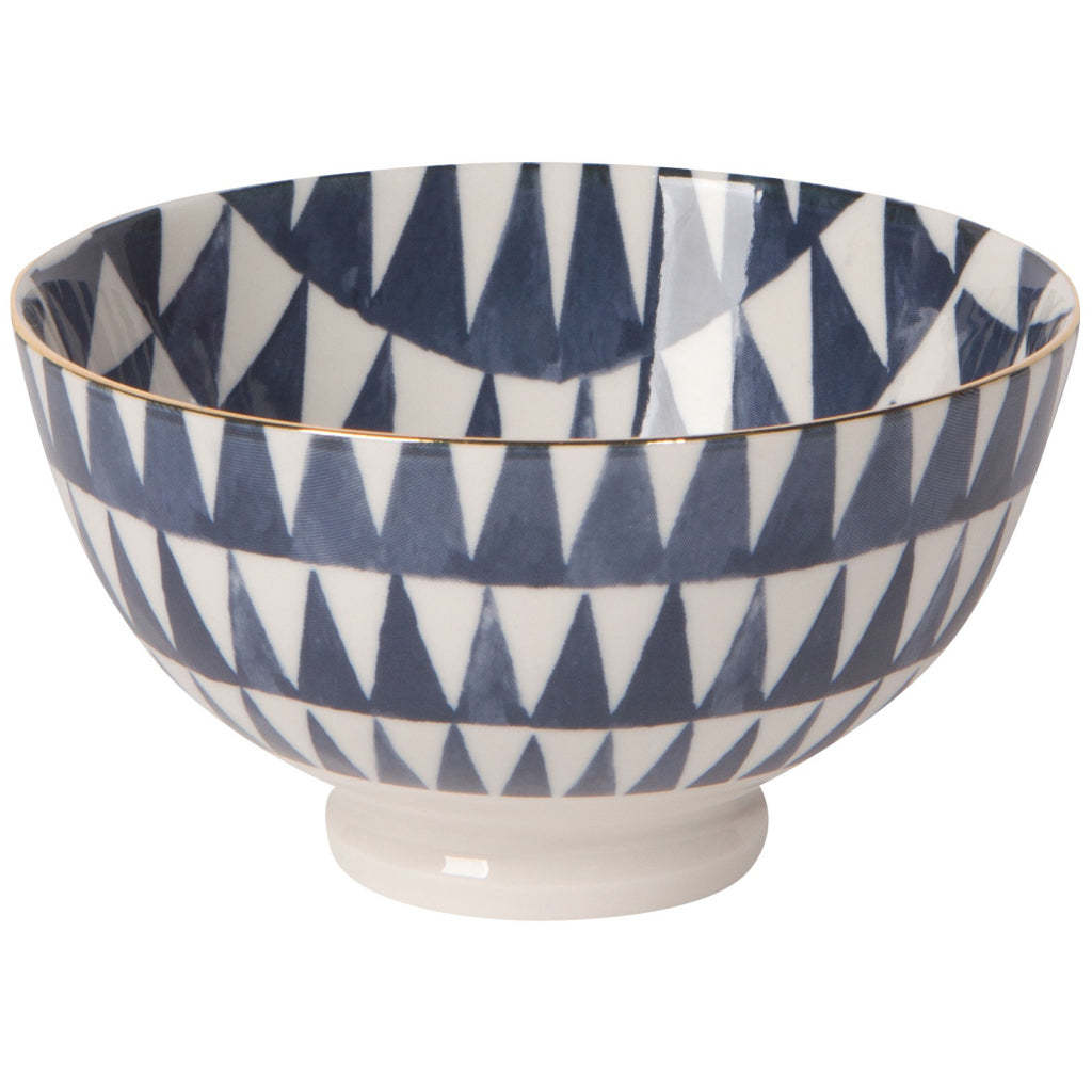 Shibori Triangles Stamped Bowl 4 Inch