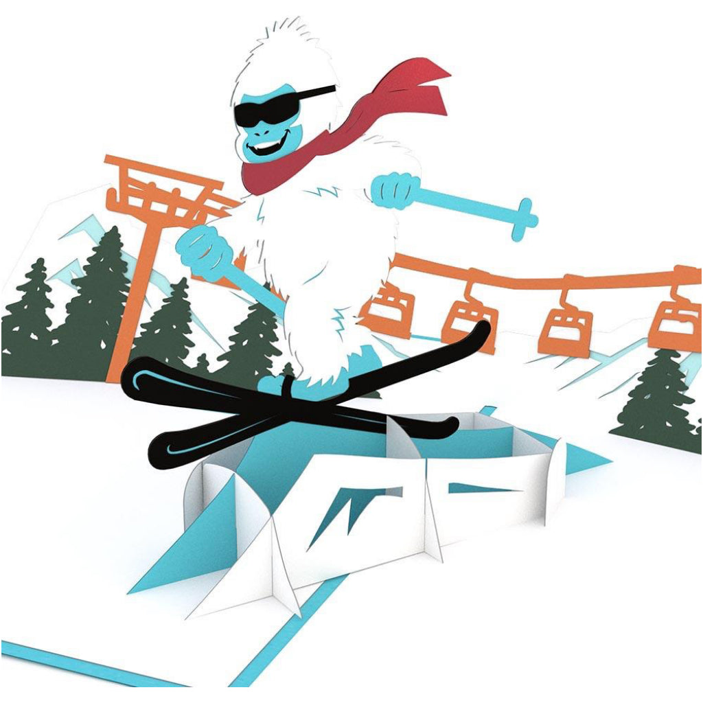 Skiing Yeti 3D Pop Up Card
