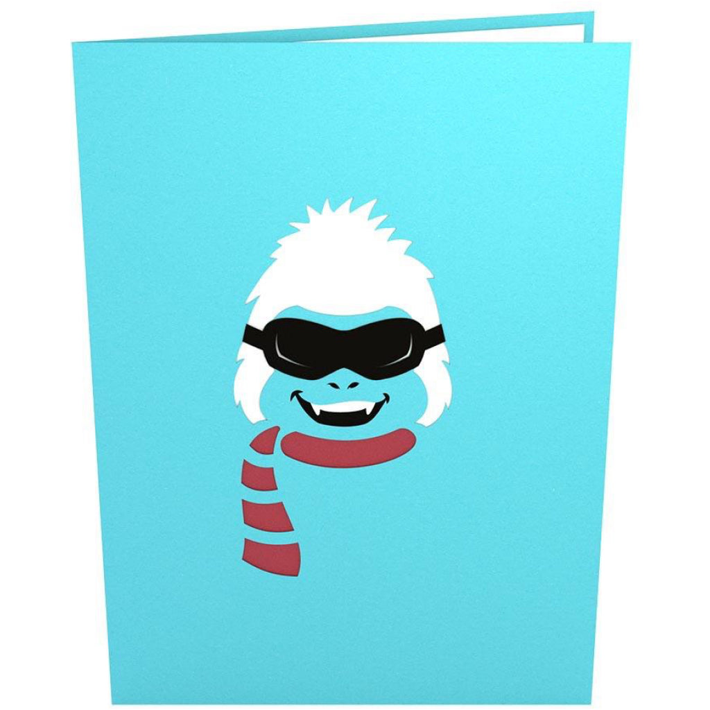 Front of Skiing Yeti 3D Pop Up Card.