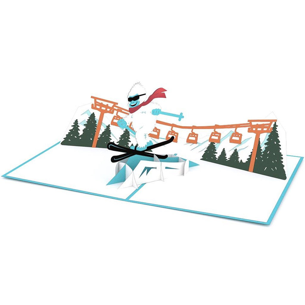 Full view of Skiing Yeti 3D Pop Up Card.