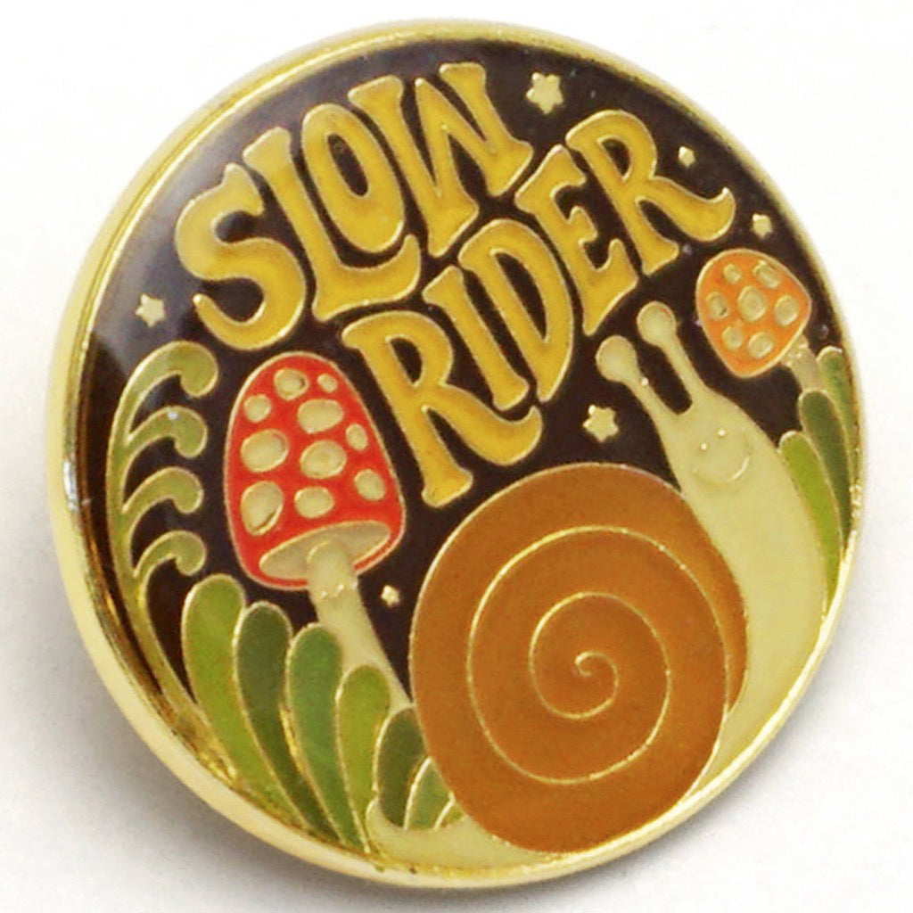 Side view of Slow Rider Enamel Pin.