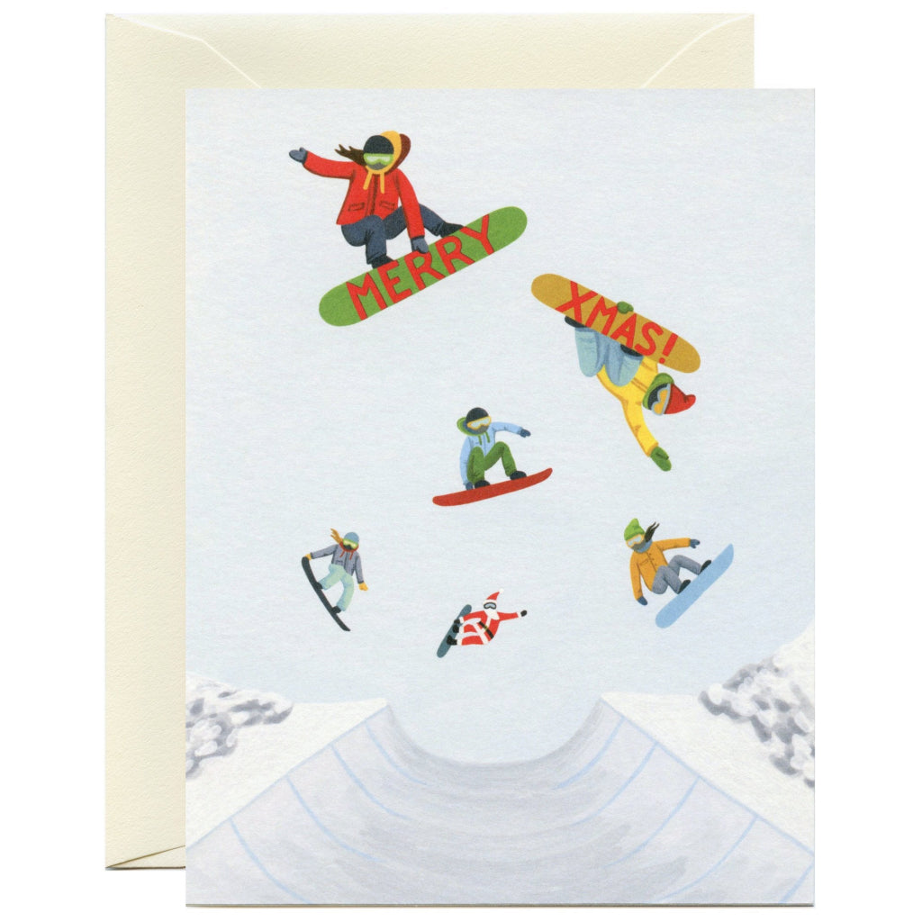 Snowboarders Holiday Card