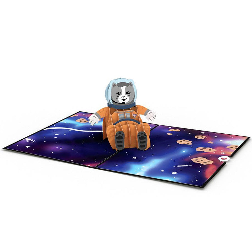 Space Cat 3D Pop Up Card Open