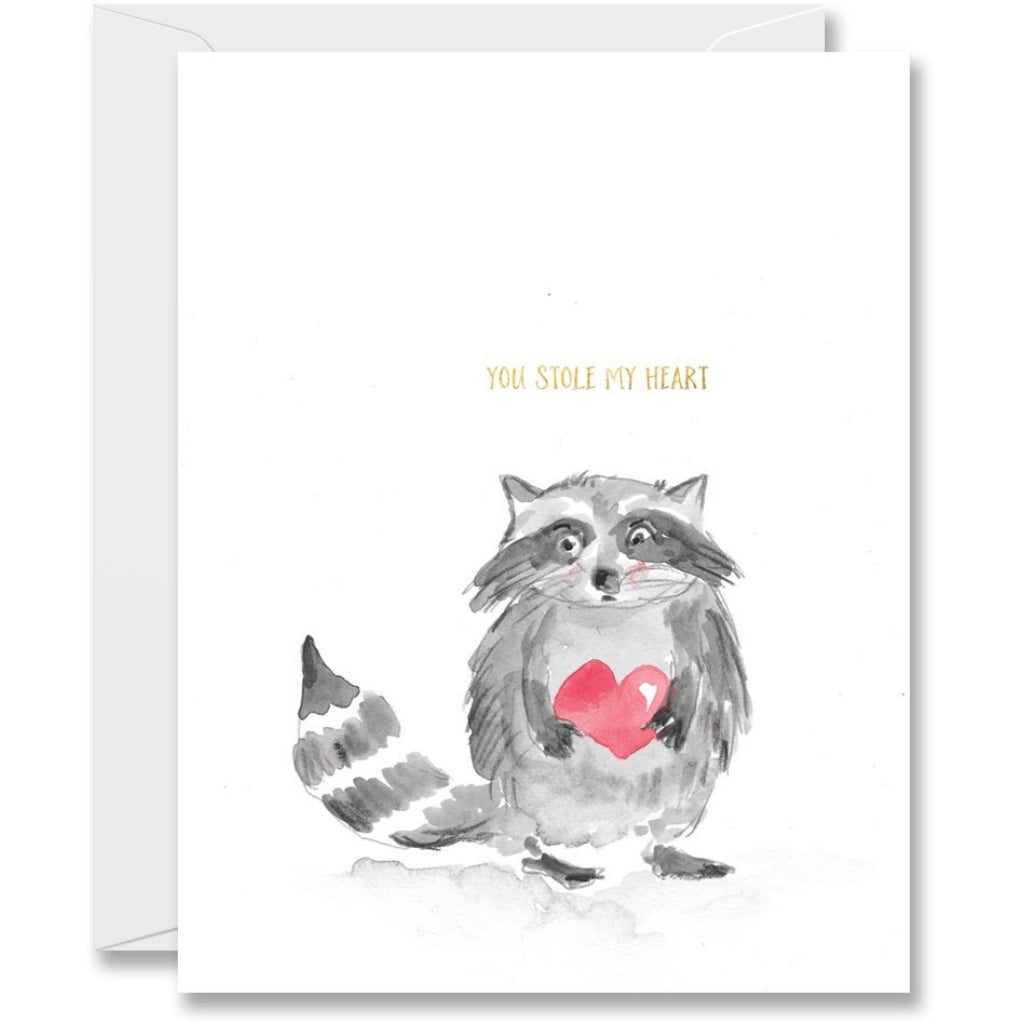 Stole My Heart Raccoon Card