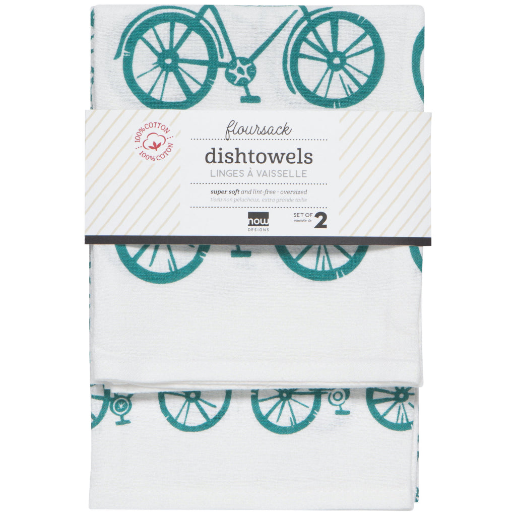 Sweet Ride Peacock Blue Floursack Tea Towels Set Of 2 Packaging