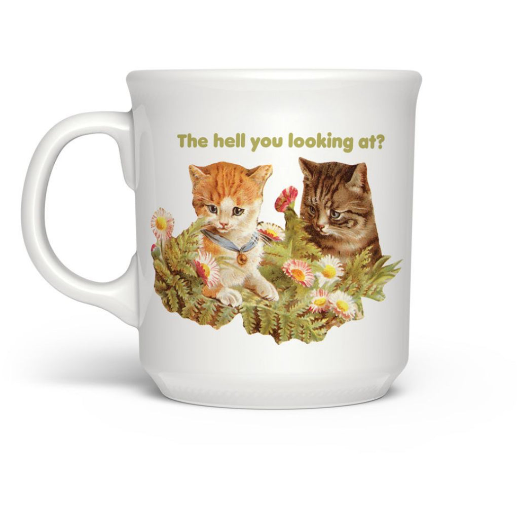 The Hell You Looking At Cats Mug