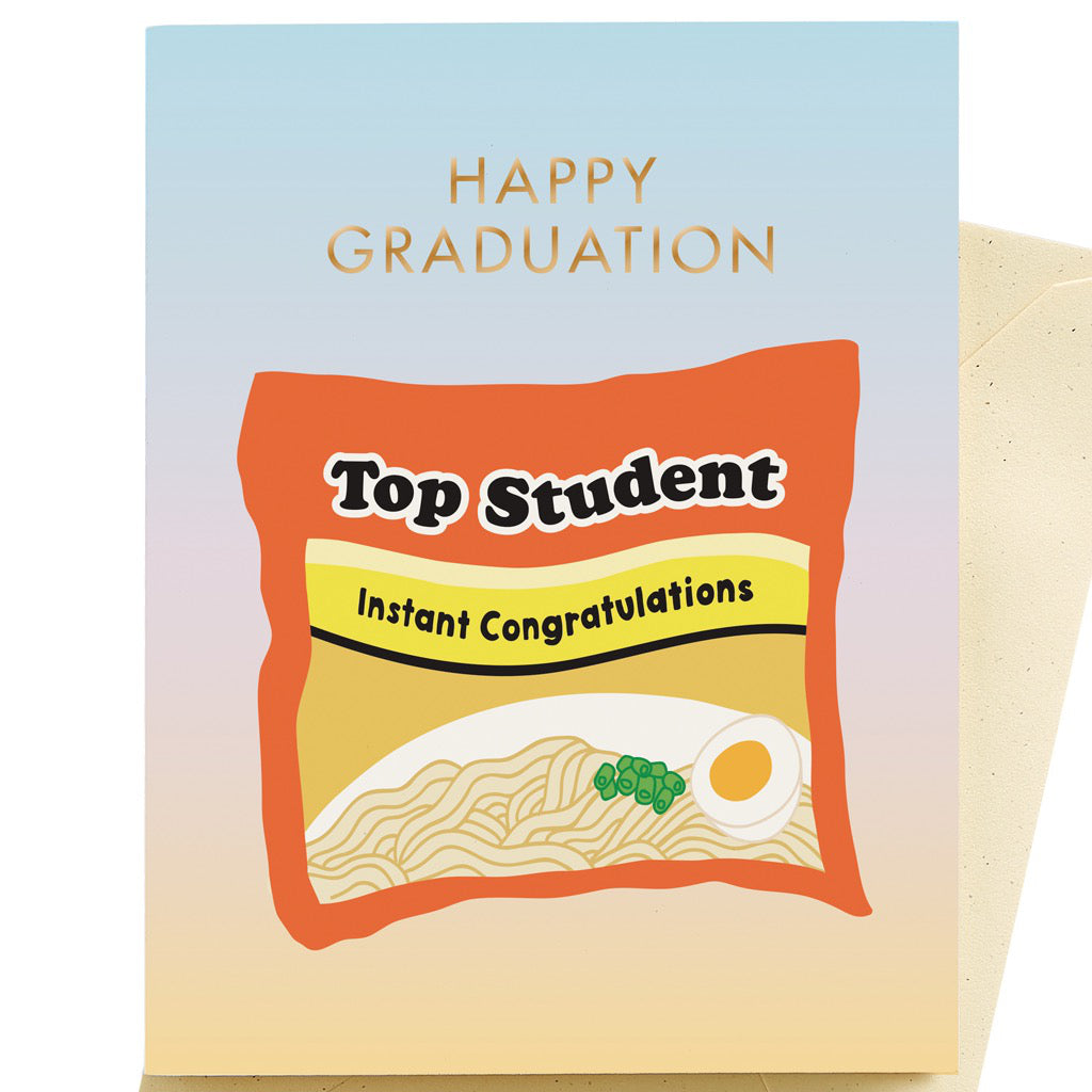 Top Student Ramen Graduation Card