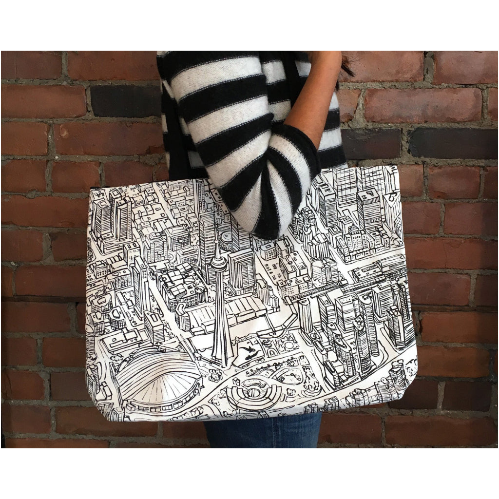 Lifestyle of Toronto Lines Canvas Tote Bag.