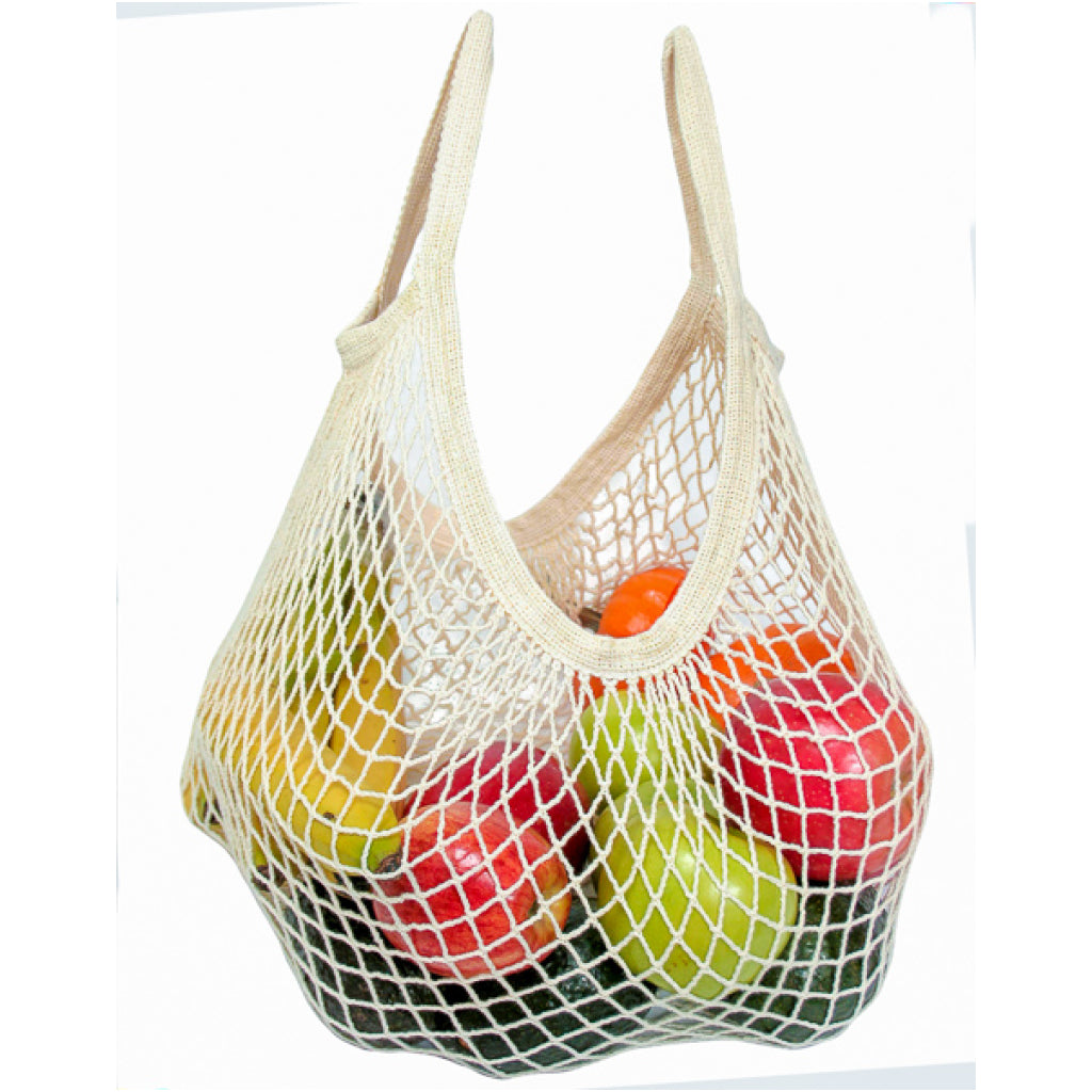 Tote Handle String Bag Natural filled with fruit