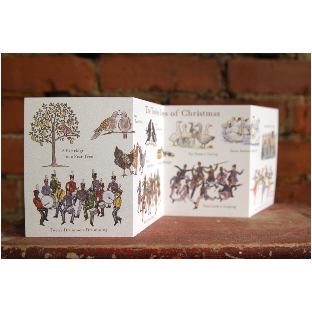 Open view of Twelve Days of Christmas Card (Accordian).