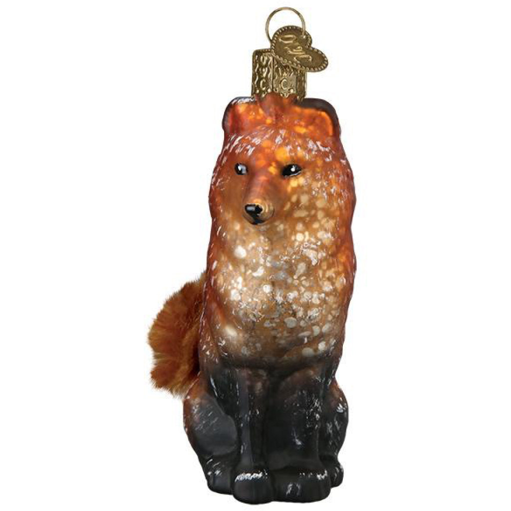 Side of Vintage Fox Ornament.