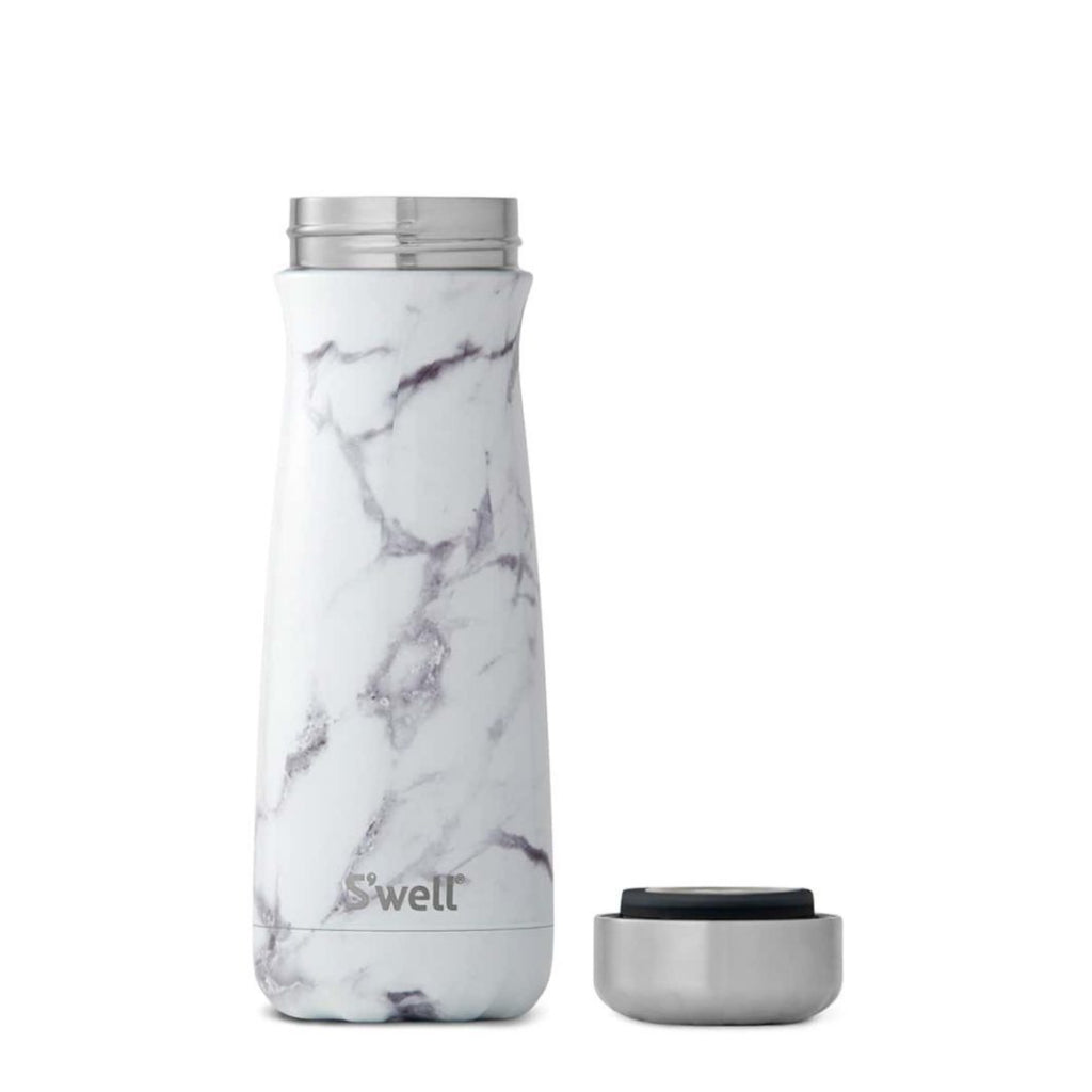 White Marble Traveler 20oz Lid Off