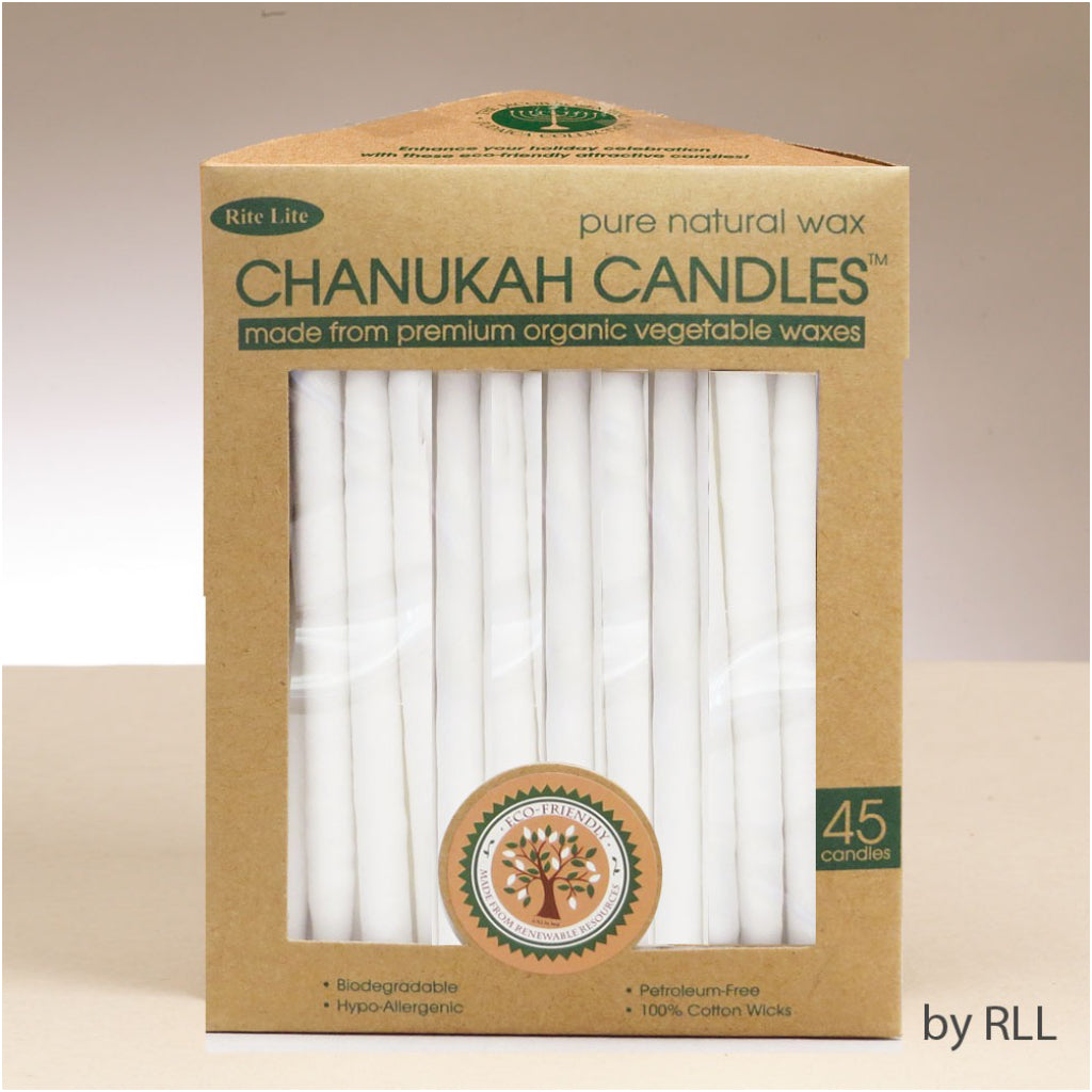 White Organic Vegetable Wax Chanukah Candles