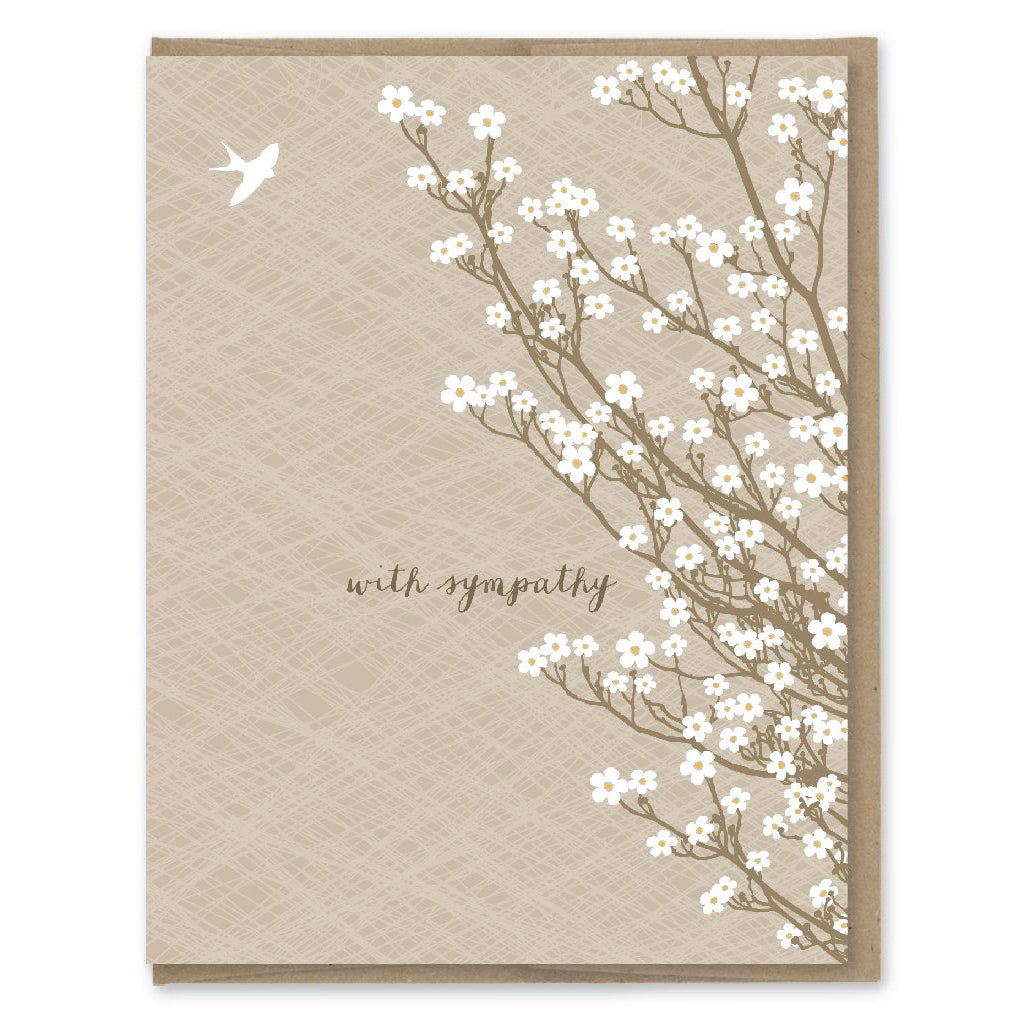 White Tree Blossoms Sympathy Card