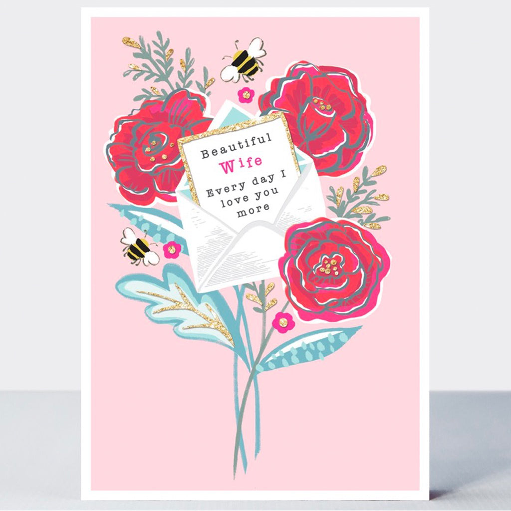Wife Roses Letter Card