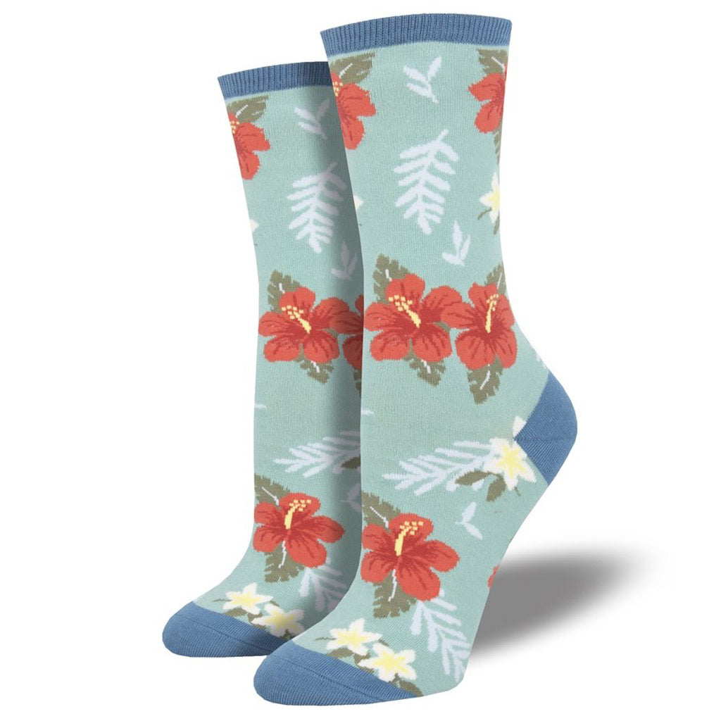 Women's Aloha Floral Socks Sky Blue