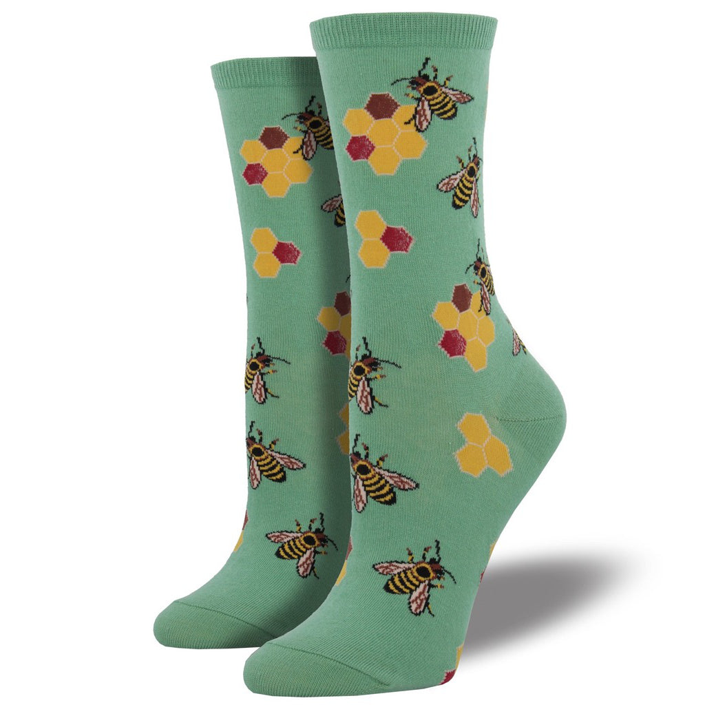 Women's Busy Bees Crew Socks Seafoam