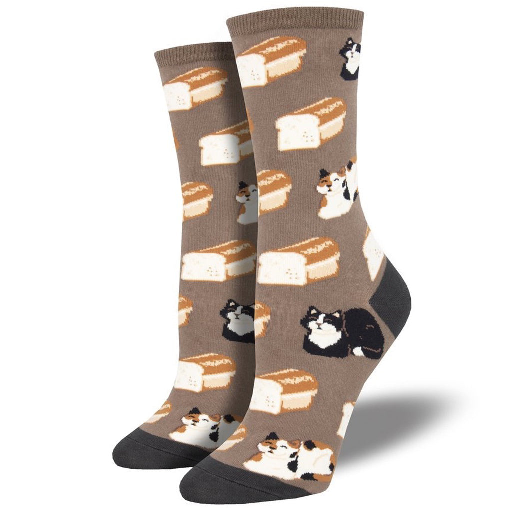 Women's Cat Loaf Socks Brown