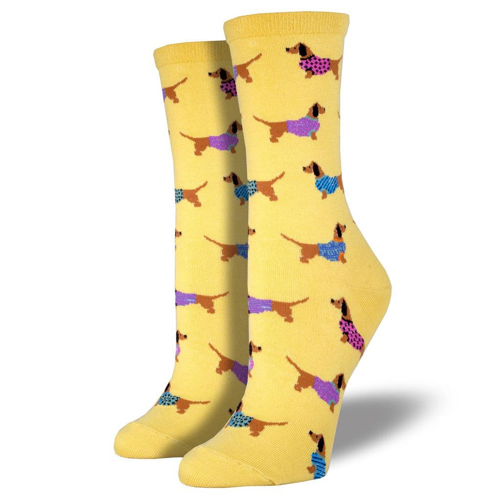 Women's Haute Dog Socks Mimosa Yellow