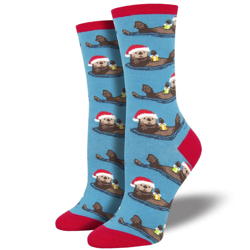 Women's Otterly Merry Crew Socks Blue