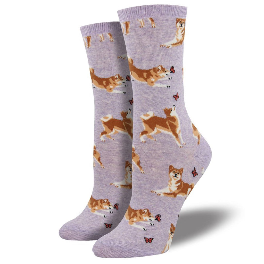 Women's Shiba Inu Socks Purple HeatherWomen's Haute Dog Socks Mimosa Yellow