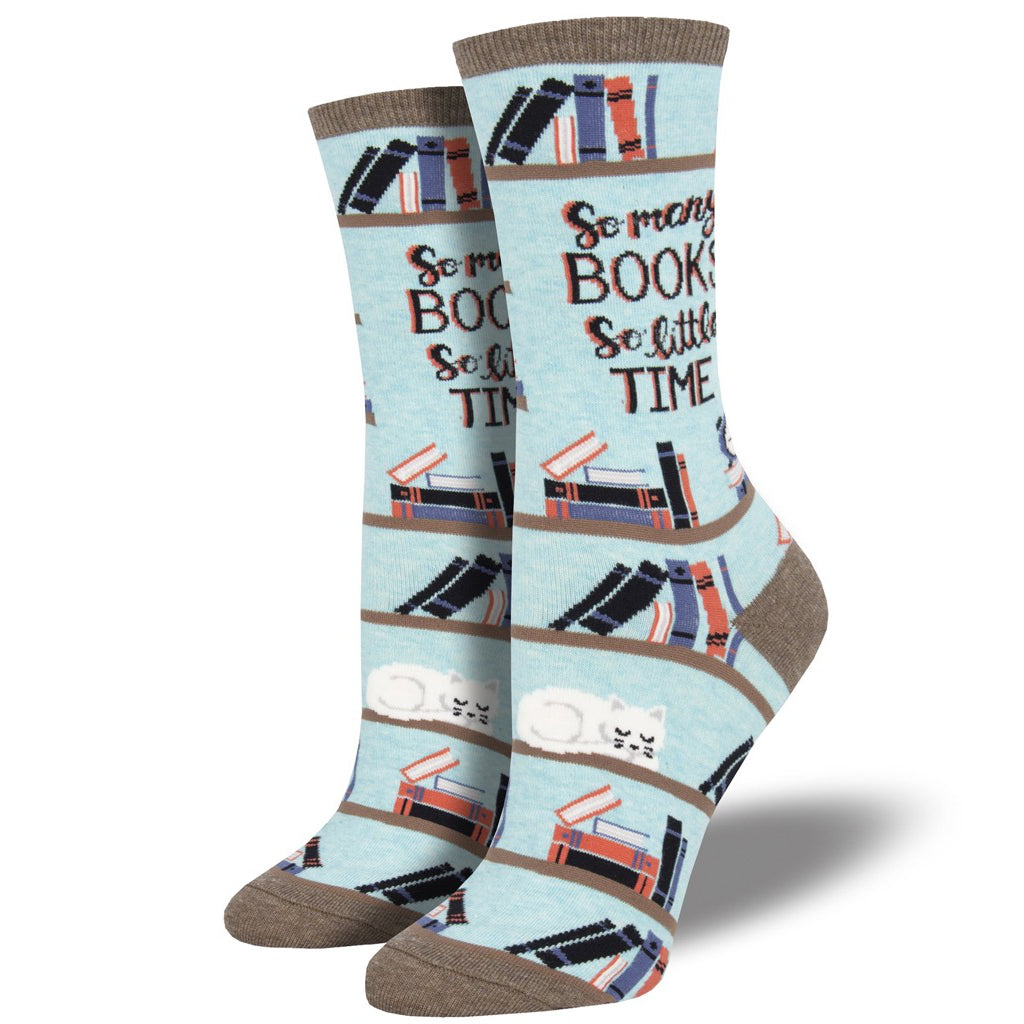 Women's Time For A Good Book Socks Blue Heather