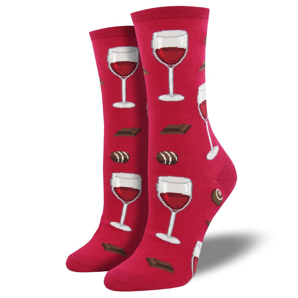 Women's Time To Wine Down Crew Socks Berry