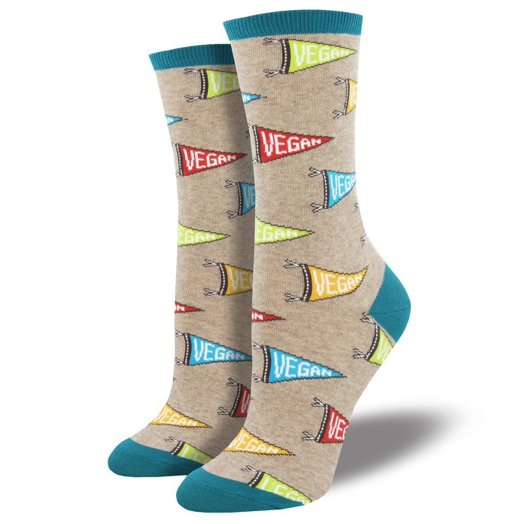 Women's Vegan Flag Socks Hemp Heather