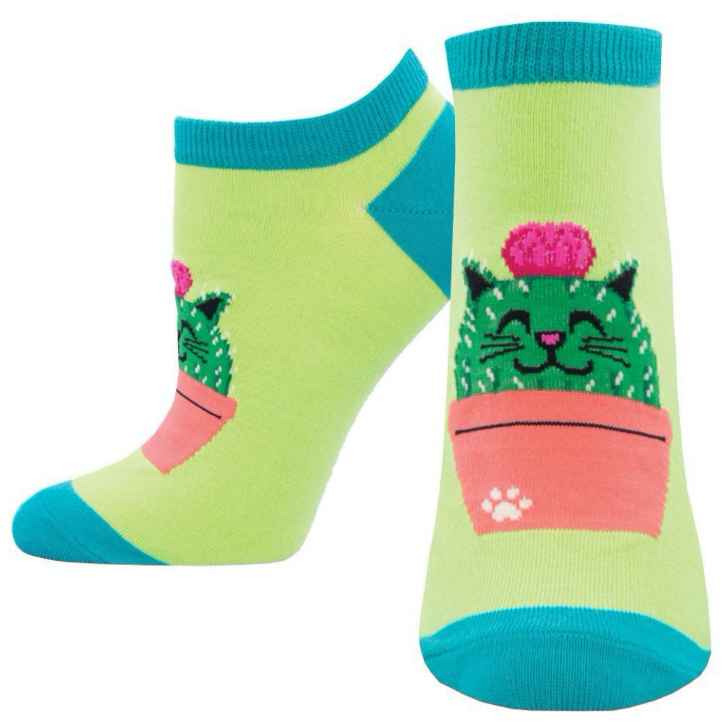 Women's Kitty Cactus Ankle Socks Green