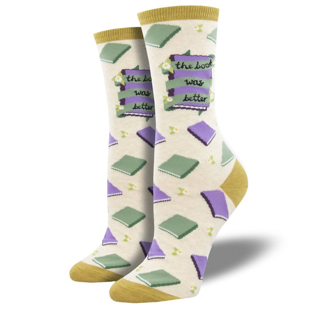 Women's The Book Was Better Socks Ivory Heather