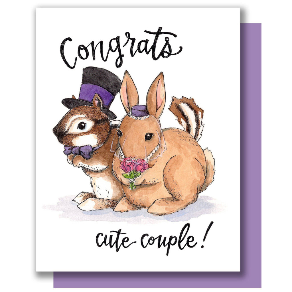 Woodland Animals Cute Couple Card