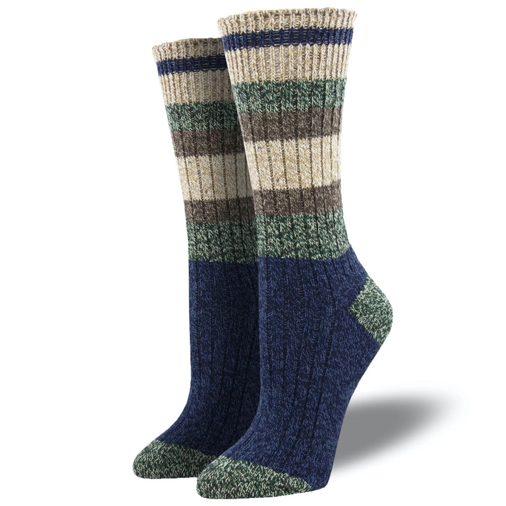 Yosemite Navy Cabin Socks Large