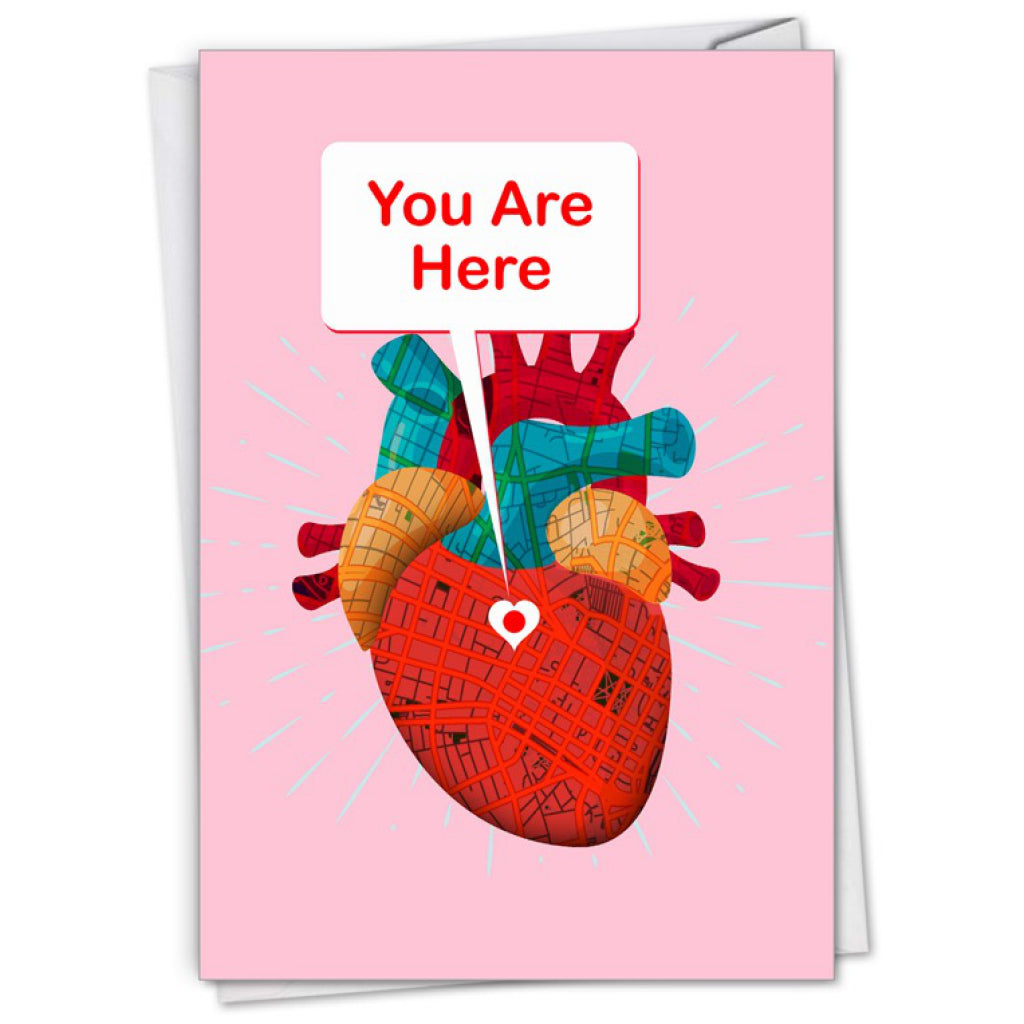 You Are Here Heart Map Card