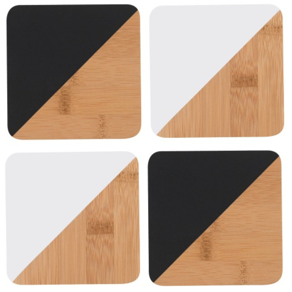 Bamboo Angle Dipped Coasters Black & White Set of 4