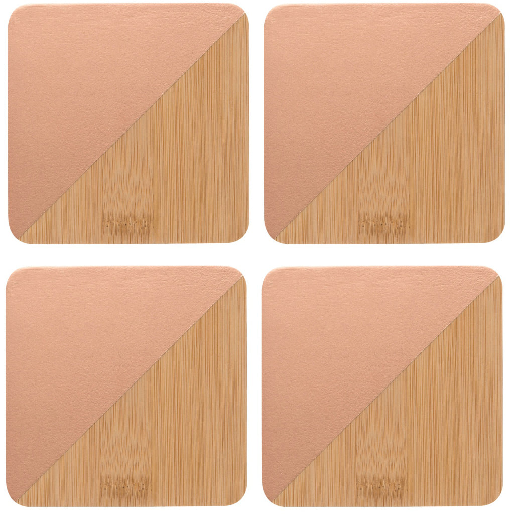 Bamboo Angle Dipped Coasters Copper Set of 4