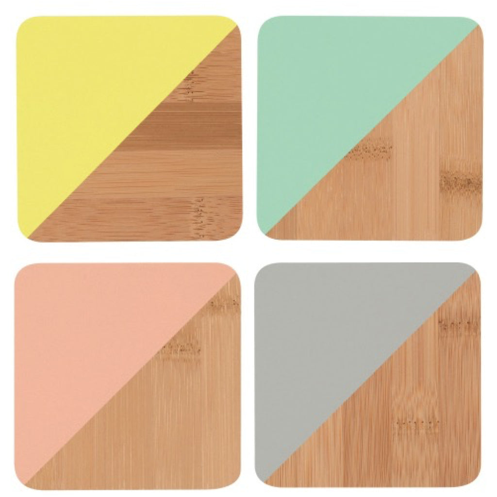 Bamboo Angle Dipped Coasters Multicolor Set of 4