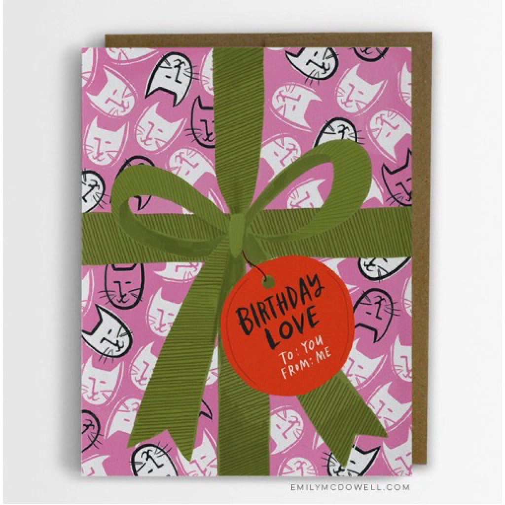 Birthday Gift Wrap Cats Card