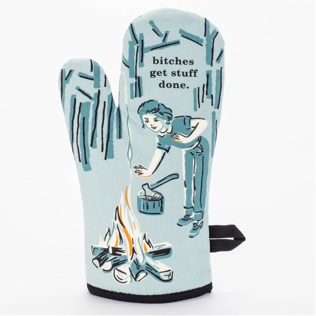 Bitches Get Stuff Done Oven Mitt back